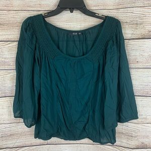 A.N.A Teal Open Neck Peasant Blouse Size L